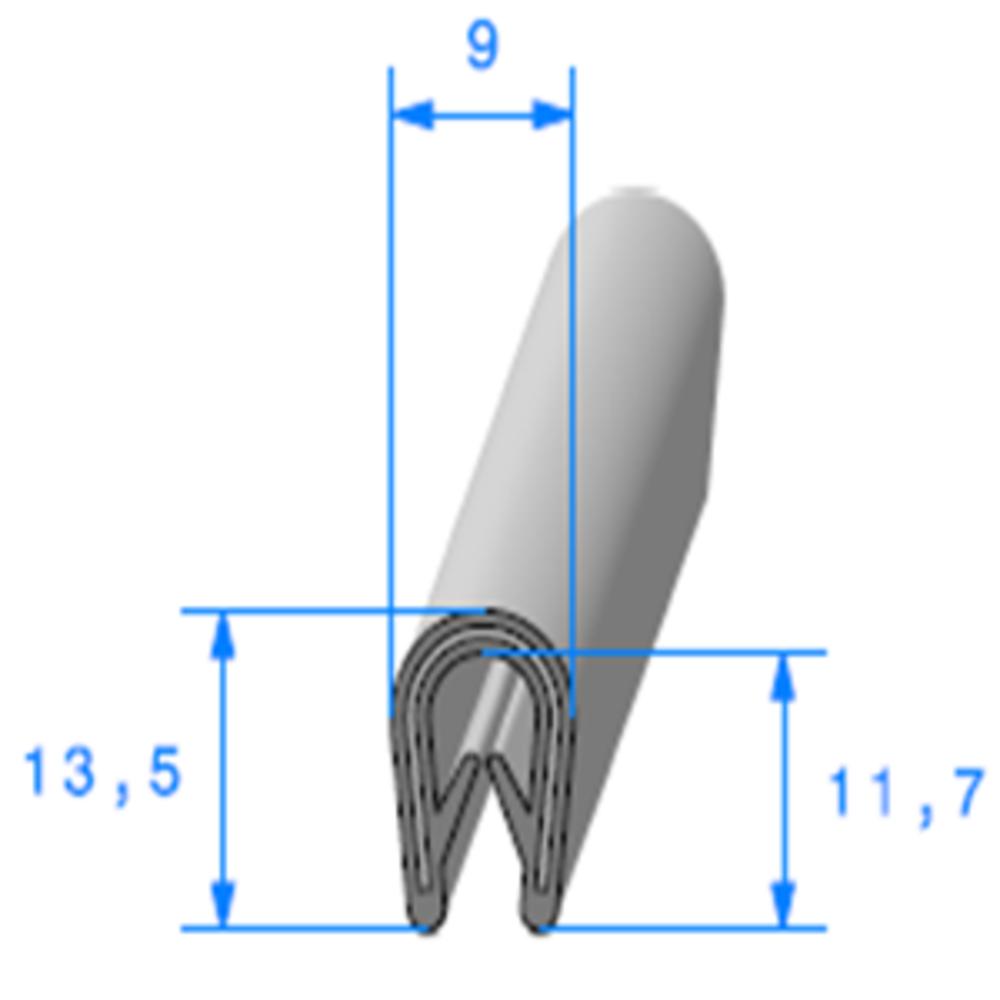 Pince PVC Armé Noir   [1.5/3 mm]   Vendu au Mètre