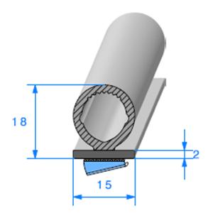 Semelle EPDM ADH + Bulbe <br /> [18 x 15 mm] <br /> Vendu au Mètre<br />