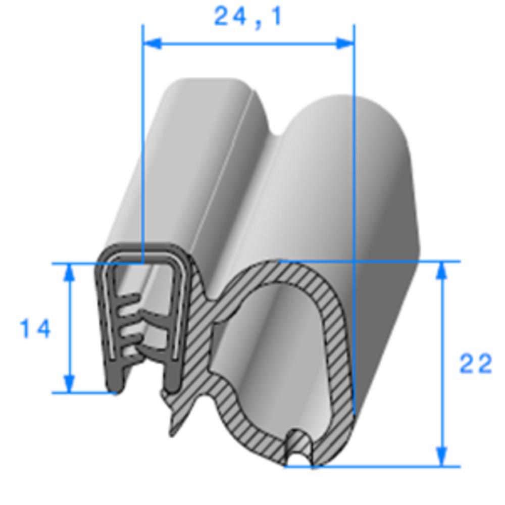 Pince PVC Armé + Bulbe EPDM   [2/4 mm]   Vendu au Mètre