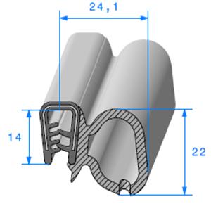Pince PVC Armé + Bulbe EPDM 2/4 mm   Vendu au Mètre