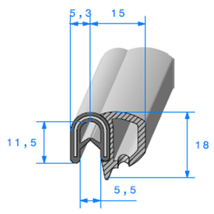 Pince EPDM Armé + Bulbe EPDM   [0.8/2.5 mm]   Vendu au Mètre
