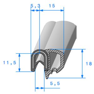 Pince EPDM Armé + Bulbe EPDM   [Accroche 0,8 à 2,5 mm]   Vendu au Mètre