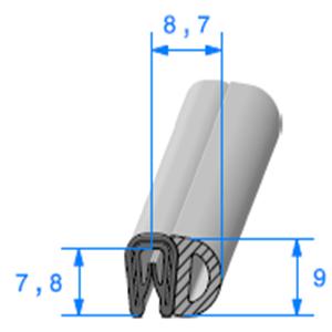 Pince PVC Armé + Bulbe EPDM   [Accroche 1 à 2 mm]   Vendu au Mètre