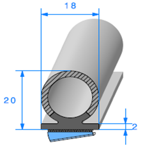 Semelle EPDM ADH + Bulbe EPDM [18x20 mm]   Vendu au Mètre