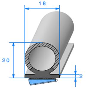 Semelle EPDM ADH + Bulbe EPDM   [20 x 18 mm]   Vendu au Mètre
