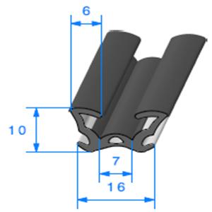 Coulisse Floquée   [10 x 16 mm]   Vendu au Mètre