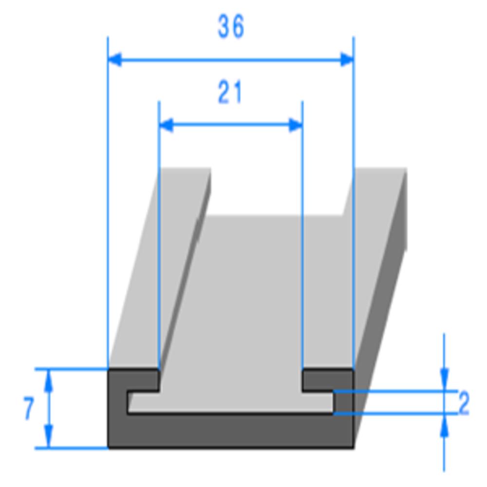 Profil Semelle EPDM   [7 x 36 mm]   [Accroche 30 mm]   Vendu au Mètre