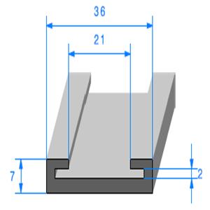 Profil Semelle EPDM 7x36 mm   Vendu au Mètre