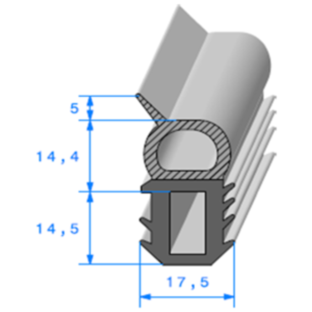 Talon EPDM + Bulbe EPDM   [14.4 x 17.5 mm]   Vendu au Mètre