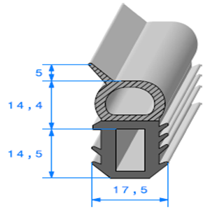 Talon EPDM + Bulbe EPDM   [33,9 x 17,5 mm]   Vendu au Mètre