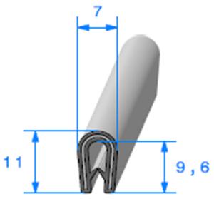 Pince PVC Armé   [Accroche 1 à 2,5 mm]   Vendu au Mètre