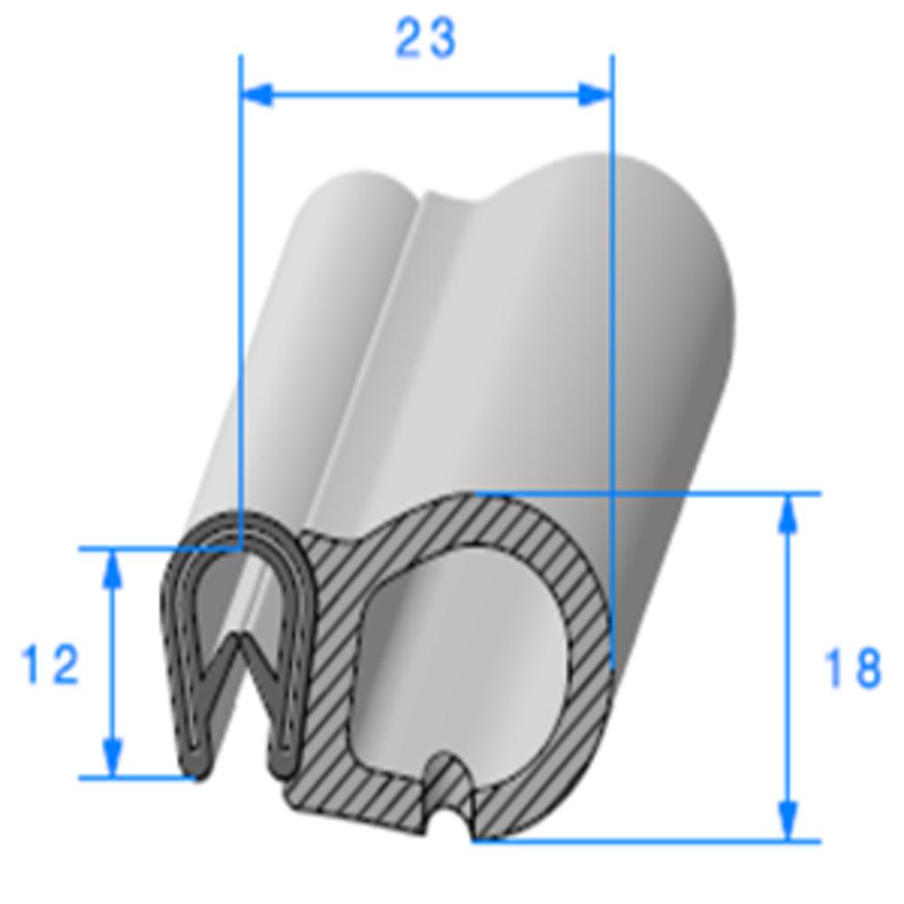 Pince PVC Armé + Bulbe EPDM   [1.5/3 mm]   Vendu au Mètre