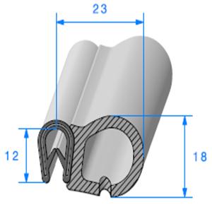 Pince PVC Armé + Bulbe EPDM 1.5/3 mm   Vendu au Mètre