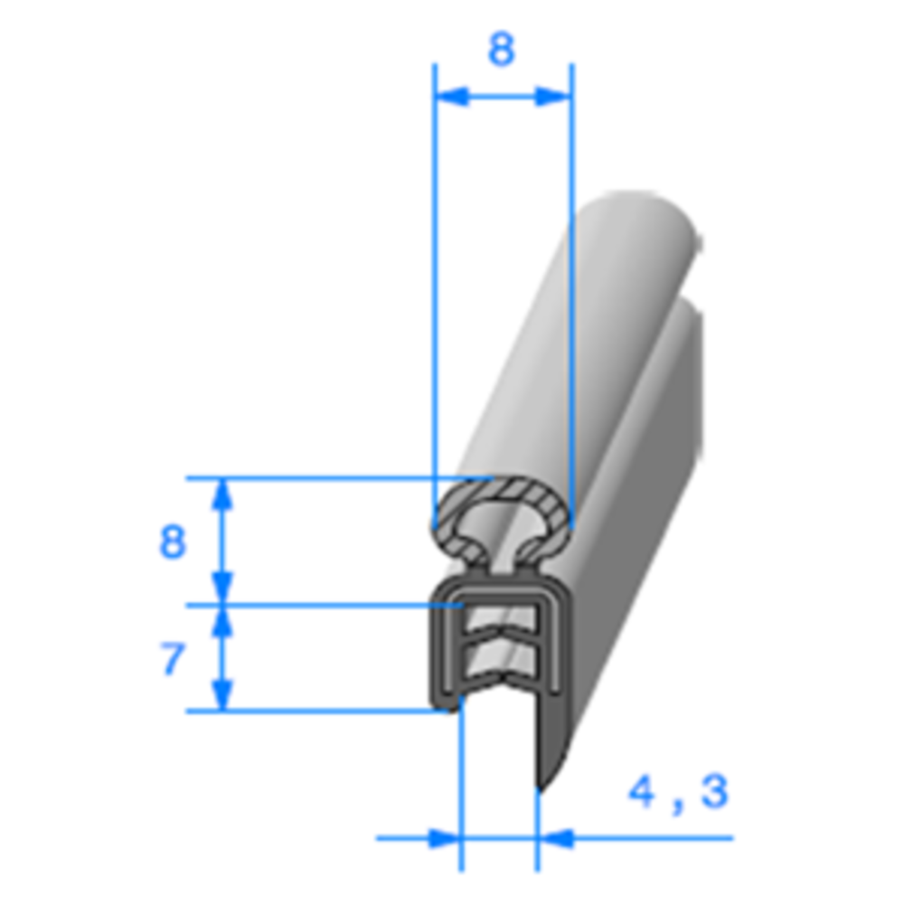 Pince EPDM Armé + Bulbe EPDM   [Accroche 1 à 2,5 mm]   Vendu au Mètre
