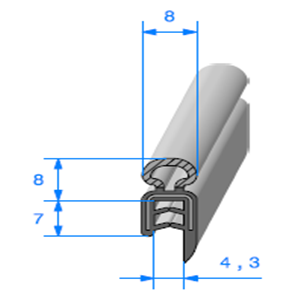 Pince EPDM Armé + Bulbe EPDM 1/2.5 mm   Vendu au Mètre