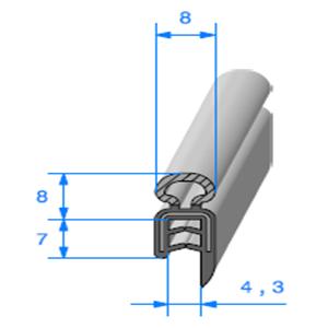 Pince EPDM Armé + Bulbe EPDM <br /> [Accroche 1 à 2,5 mm] <br /> Vendu au Mètre<br />