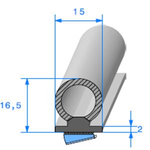 Semelle EPDM ADH + Bulbe EPDM <br /> [15 x 16.5 mm] <br /> Vendu au Mètre<br />
