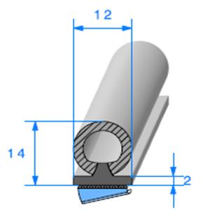 Semelle EPDM ADH + Bulbe EPDM   [14 x 12 mm]   Vendu au Mètre
