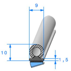 Semelle EPDM ADH + Bulbe EPDM <br /> [9 x 10 mm] <br /> Vendu au Mètre<br />