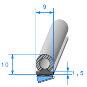 Semelle EPDM ADH + Bulbe EPDM   [10 x 9 mm]   Vendu au Mètre