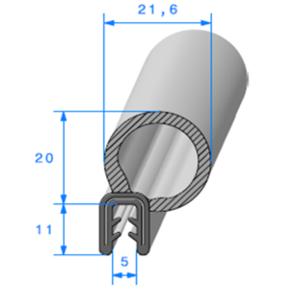 Pince EPDM Armé + Bulbe EPDM   [Accroche 2 à 3 mm]   Vendu au Mètre