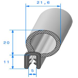 Pince EPDM Armé + Bulbe EPDM 2/3 mm   Vendu au Mètre
