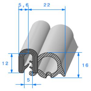 Pince EPDM Armé + Bulbe   [Accroche 1 à 2 mm]   Vendu au Mètre