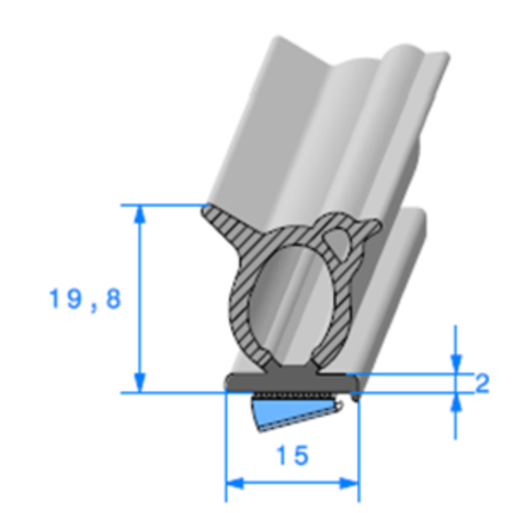 Semelle EPDM ADH + Bulbe EPDM   [19,8 x 19 mm]   Vendu au Mètre