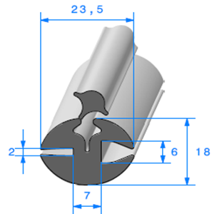 Joint de Fenêtre en H   [18 x 23.5 mm]   Vendu au Mètre