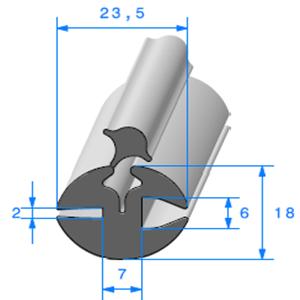 Joint de Fenêtre en H   [18 x 23,5 mm]   Vendu au Mètre