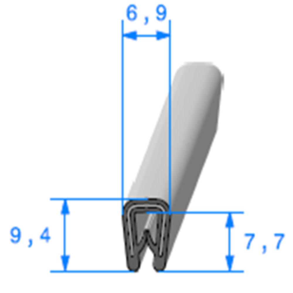 Pince PVC Gris Armé   [Accroche 0,8 à 2 mm]   Vendu au Mètre
