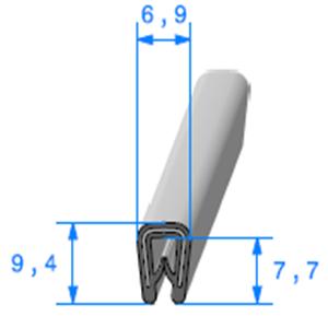 Pince PVC Gris Armé   [0.8/2 mm]   Vendu au Mètre