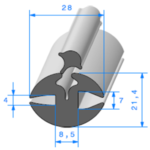 Joint de Fenêtre en H   [21.4 x 28 mm]   Vendu au Mètre