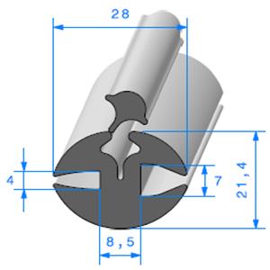 Joint de Fenêtre en H   [21,4 x 28 mm]   Vendu au Mètre