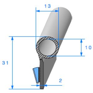 Semelle EPDM ADH + Bulbe EPDM <br /> [13 x 18.3 mm] <br /> Vendu au Mètre<br />