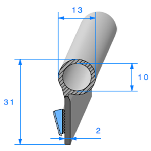 Semelle EPDM ADH + Bulbe EPDM   [12,5 x 31,3 mm]   Vendu au Mètre