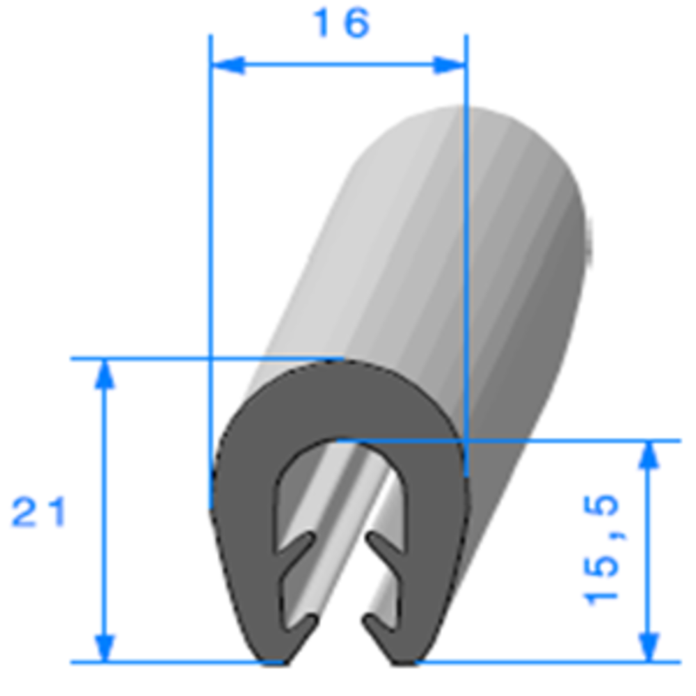 Pince TPE Compact   [Accroche 0,5 à 2,5 mm]   Vendu au Mètre