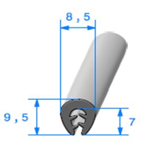 Pince TPE Compact <br /> [Accroche 0,5 à 2,5 mm] <br /> Vendu au Mètre<br />