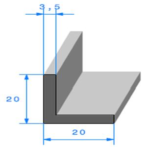 Compact en L <br /> [20 x 20 mm] <br /> Vendu au Mètre<br />
