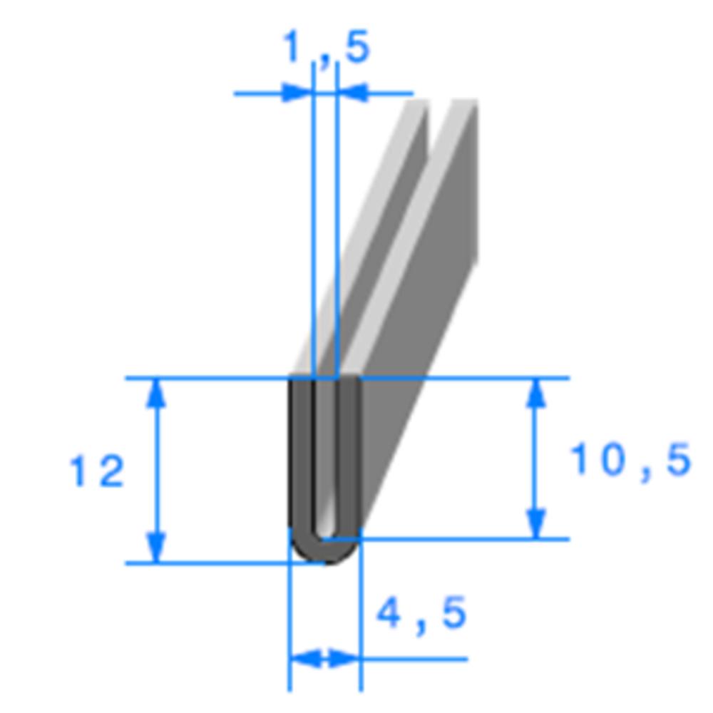 Compact en U   [12 x 4,5 mm]   [Accroche 1,5 mm]   Vendu au Mètre