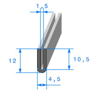 Compact en U <br /> [12 x 4,5 mm] <br /> [Accroche 1,5 mm] <br /> Vendu au Mètre<br />