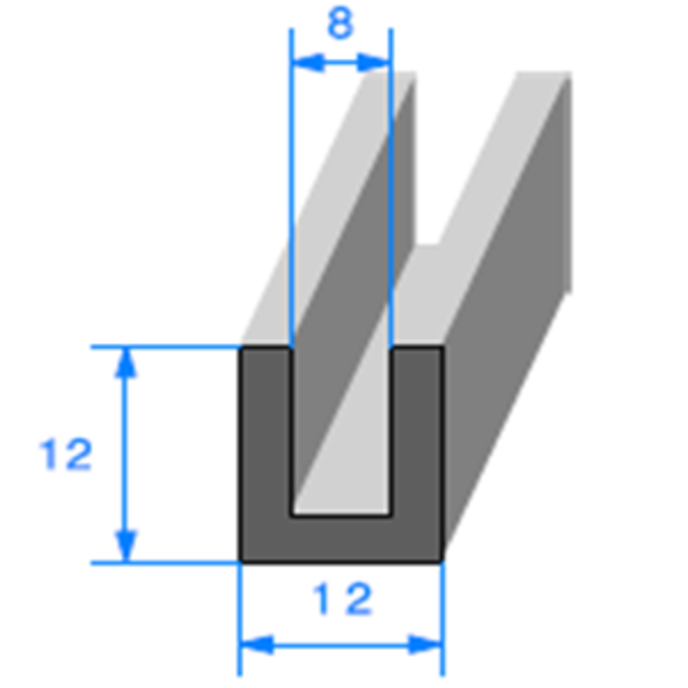 Compact en U   [12 x 12 mm]   [Accroche 8 mm]   Vendu au Mètre