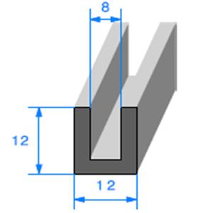Compact en U <br /> [12 x 12 mm] <br /> [Accroche 8 mm] <br /> Vendu au Mètre<br />