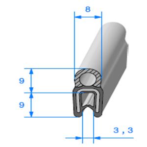 Pince EPDM Armé + Bulbe EPDM <br /> [Accroche 0,8 à 2,5 mm] <br /> Vendu au Mètre<br />