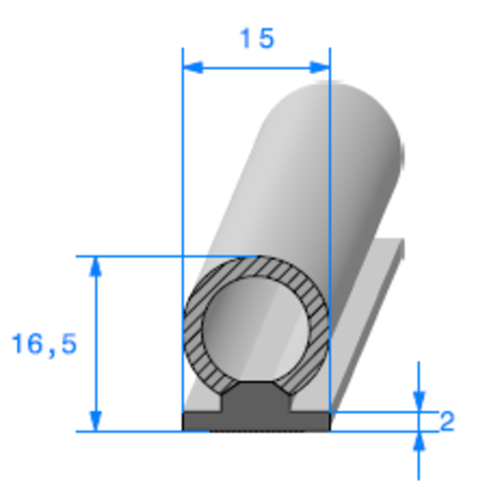 Semelle EPDM ADH + Bulbe EPDM   [15 x 16.5 mm]   Vendu au Mètre