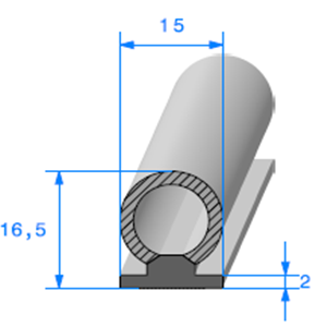 Semelle EPDM ADH + Bulbe EPDM   [16,5 x 15 mm]   Vendu au Mètre
