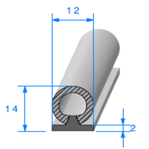 Semelle EPDM + Bulbe EPDM   [12 x 14 mm]   Vendu au Mètre