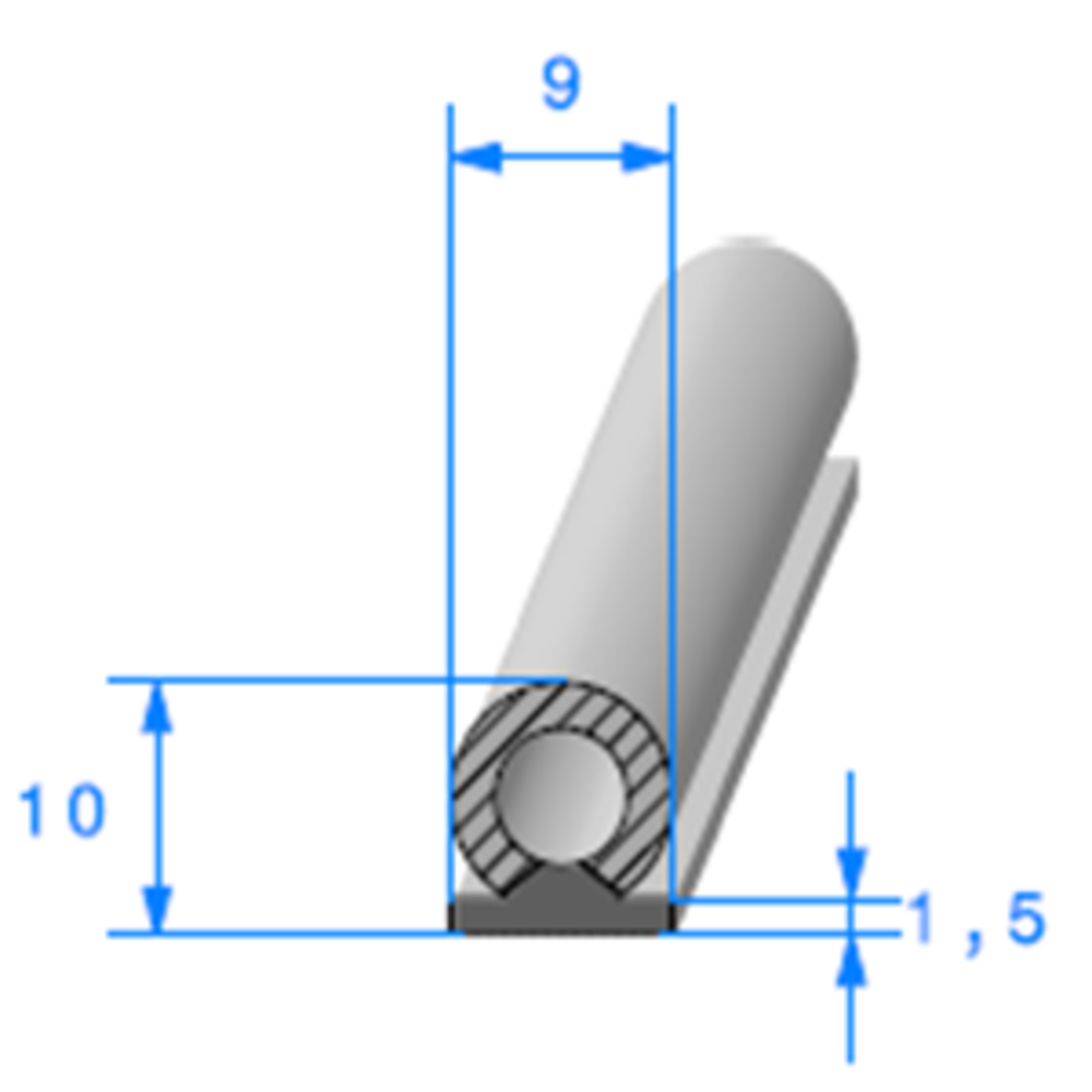 Semelle EPDM ADH + Bulbe EPDM   [9 x 10 mm]   Vendu au Mètre