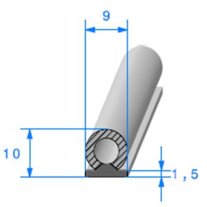 Semelle EPDM ADH + Bulbe EPDM [9x10 mm]   Vendu au Mètre
