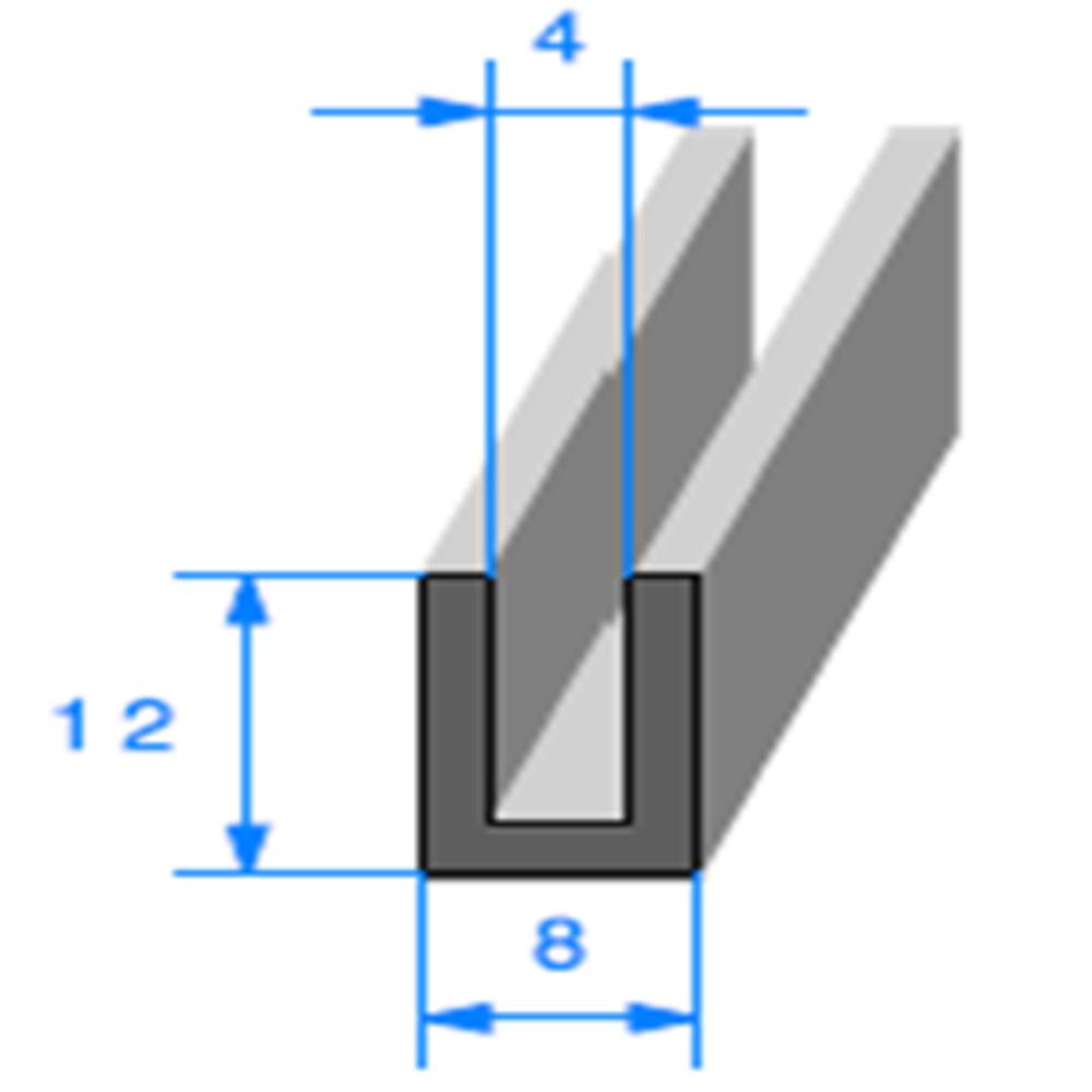 Compact en U   [12 x 8 mm]   [Accroche 4 mm]   Vendu au Mètre